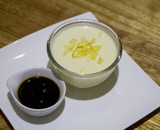 White Chocolate Panna Cotta with Espresso Coffee Syrup and Toffee