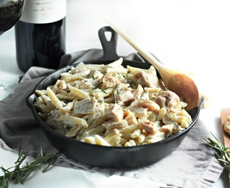 One Pot Mac and Cheese with Roasted Chicken, Goat Cheese and Rosemary