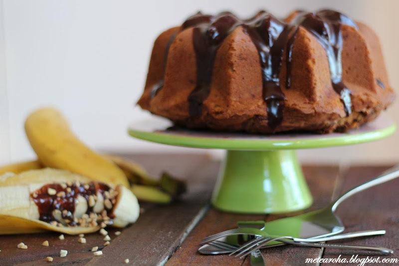 Peanut Butter & Banana Pound Cake With Nutella Glaze