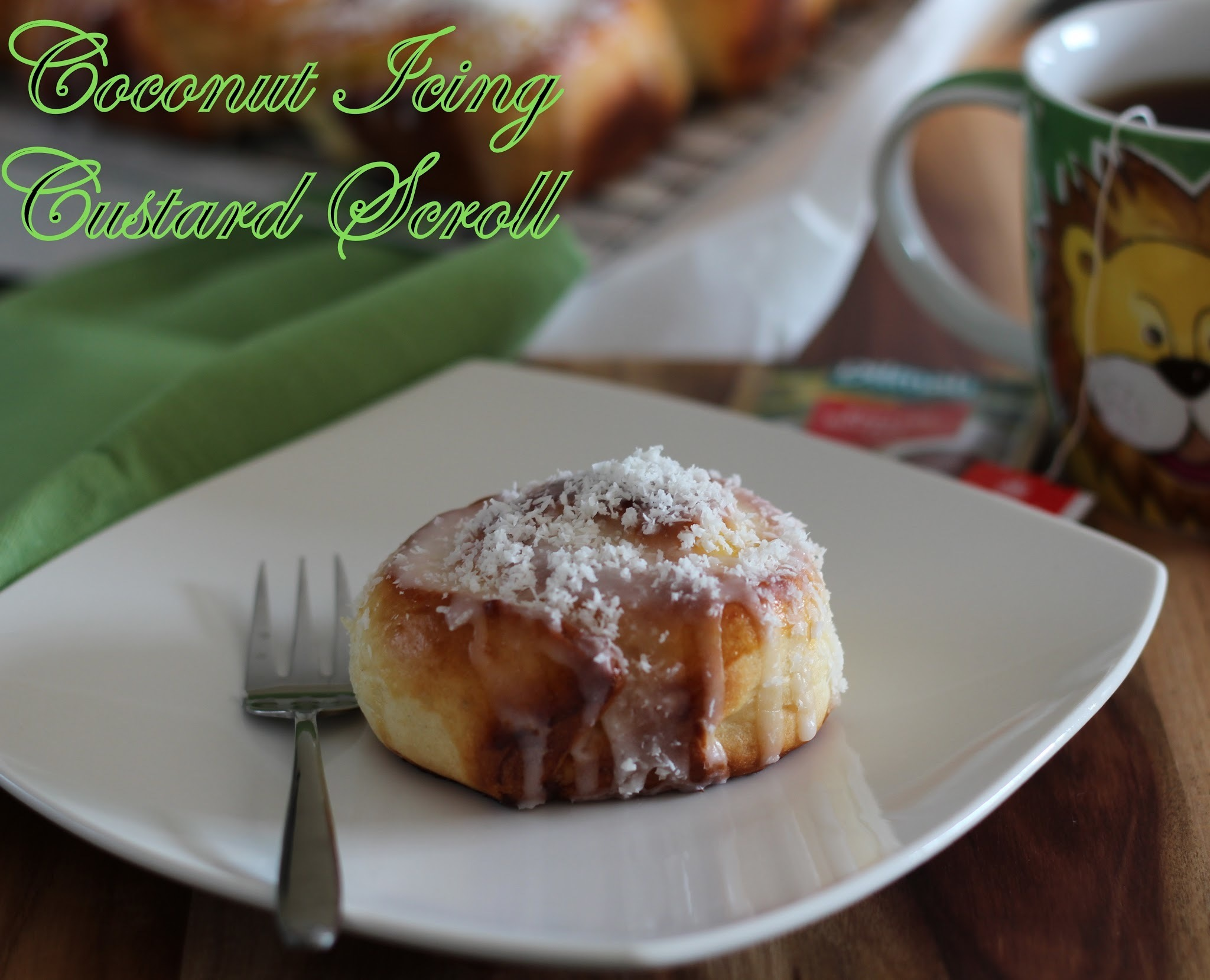 Coconut Icing Custard Scroll