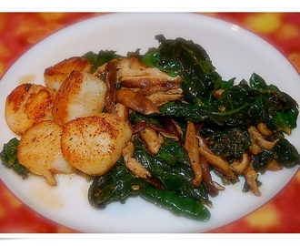 Curly Wilted Spinach and Seared Scallops