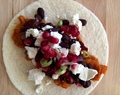Chipotle Butternut Squash and Black Bean Tacos with Pomegranate Seeds and Feta