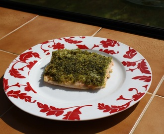 Baked New Zealand Salmon with Herb Crust (made with Rangihoua Estate's Herb Spread)