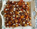 roasted vegetables with pecans and goat cheese