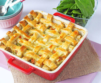 Cheesy Chicken & Sausage Lattice Pie