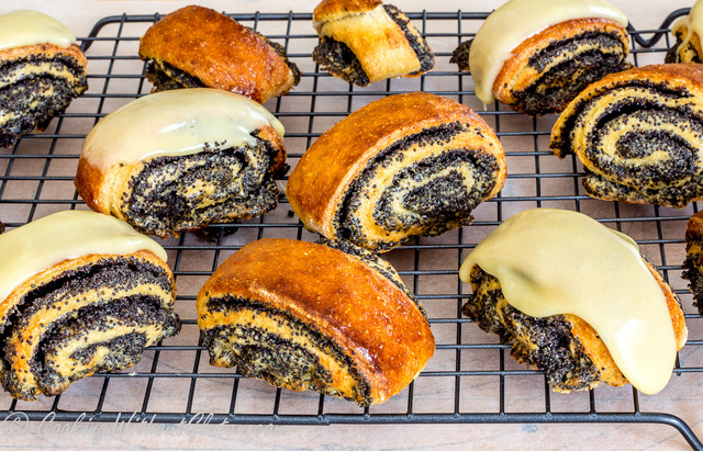 Gluten Free Poppy Seed Scrolls with Soft Chocolate Icing