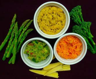 Crudités with three dips – Hummus