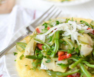 Italian Style Green Beans with Polenta + Chocolate Hazelnut Raspberry Trile