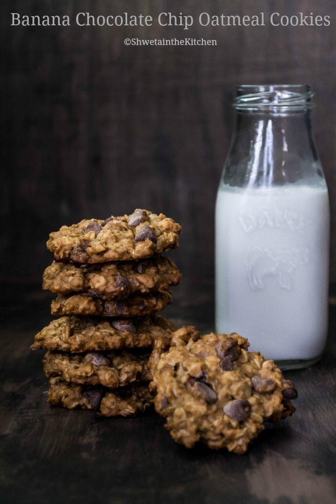 Eggless Banana Chocolate Chip Oatmeal Cookies