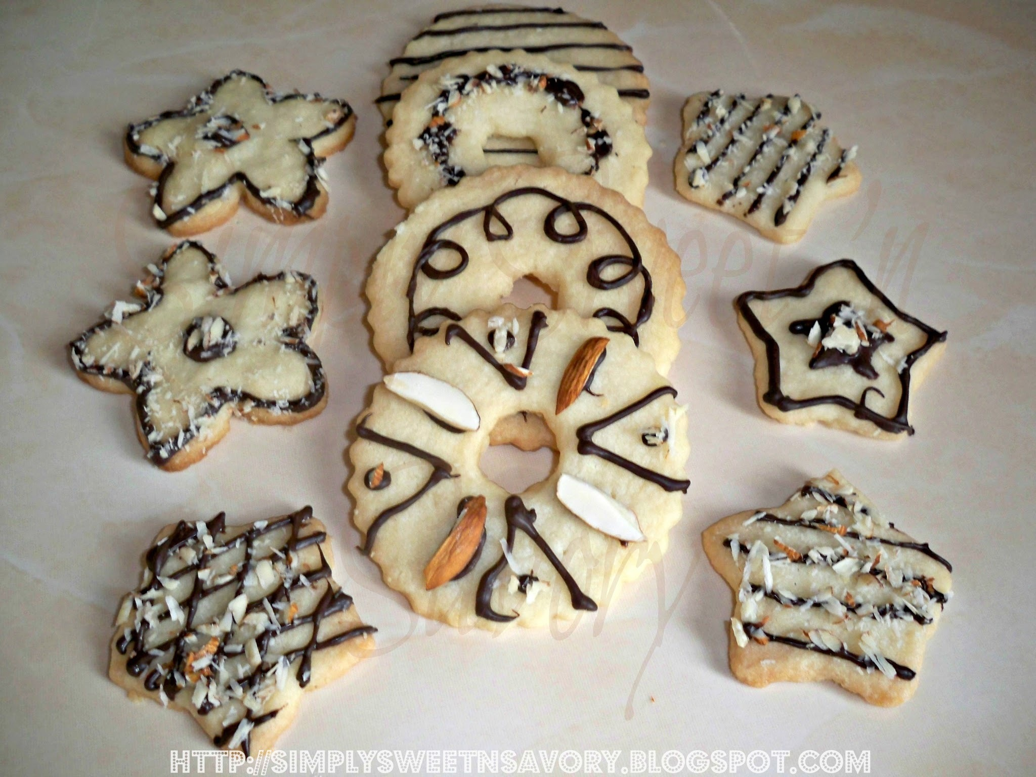 Christmas Shortbread ( Chocolate Almond Cookies )