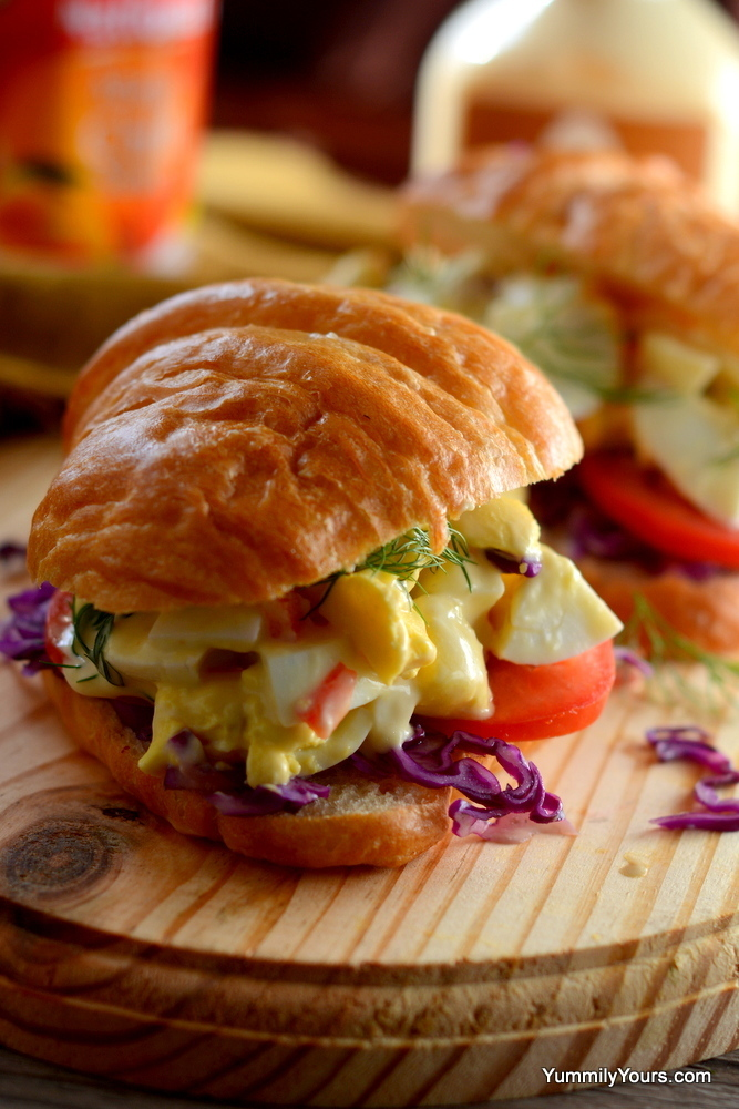 EGG SALAD CROISSANT SANDWICH WITH MANGO MAYO