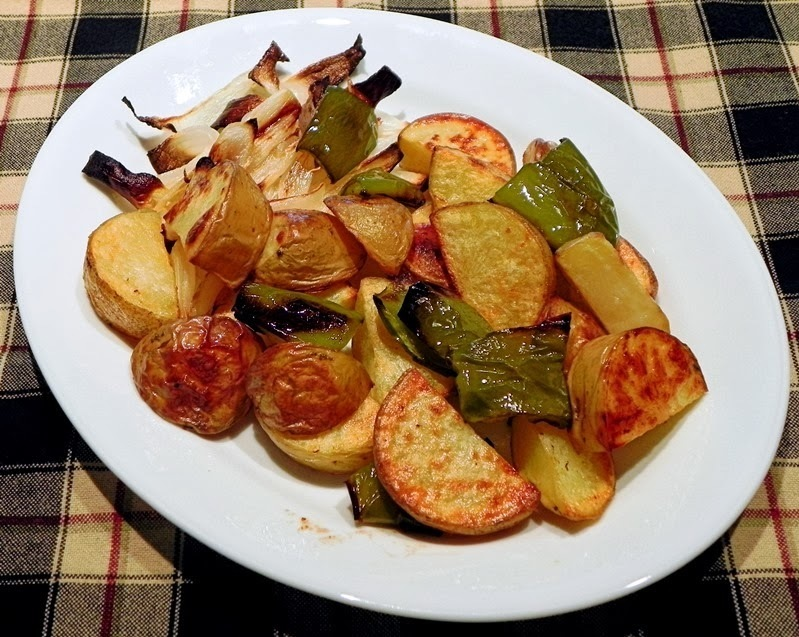 Roasted Potatoes with Green Peppers and Onions