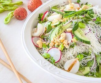 Lychee, vermicelli and edamame salad with chilli lime dressing