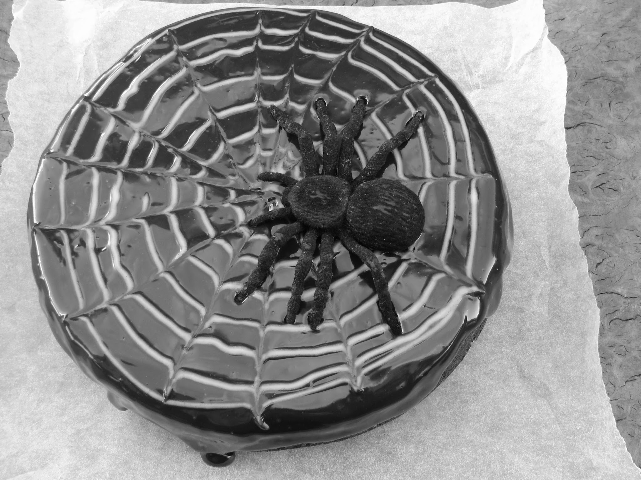 gluten-free chocolate spider-web cake recipe for my little man...