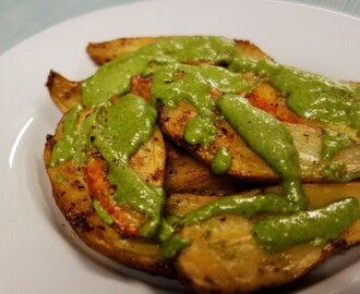 Roasted Potatoes two ways with Cashew Coriander Sauce