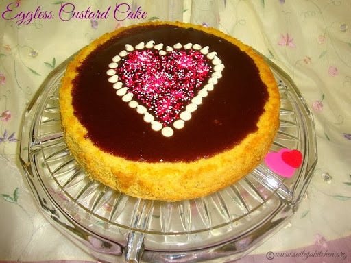 Eggless Custard Cake with Chocolate Glaze / Eggless Custard Cake Recipe- Valentine's Day Special Recipes