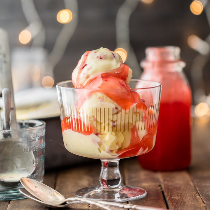 Spiked Peppermint Eggnog Ice Cream with Candy Cane Syrup