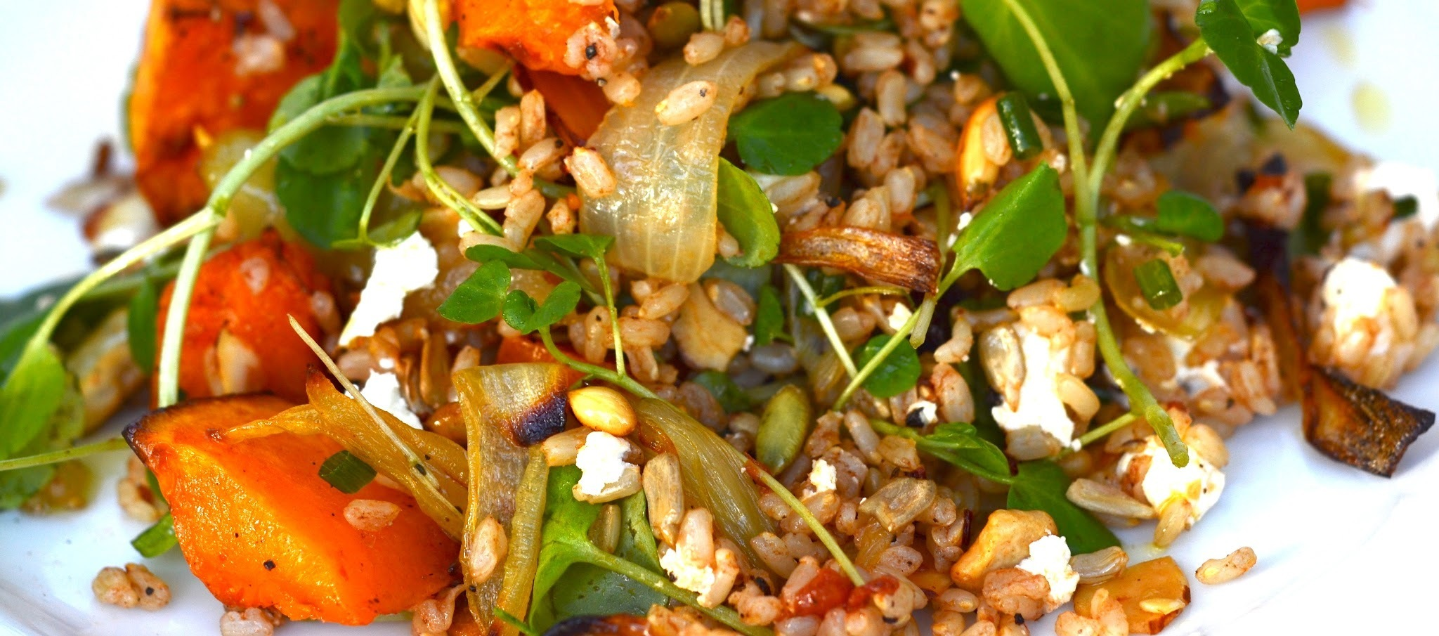brown rice salad with butternut pumpkin