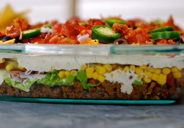 layered taco salad {in a cake pan}