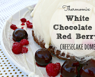 Thermomix Christmas white chocolate and red berry cheesecake dome