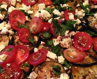 Eggplant, mint, tomato and feta salad