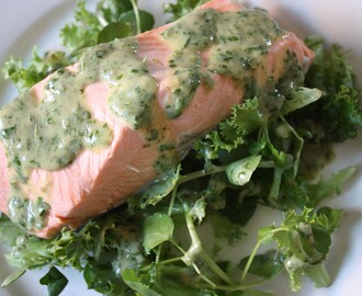 Salmon with Green Herb and Mustard Sauce