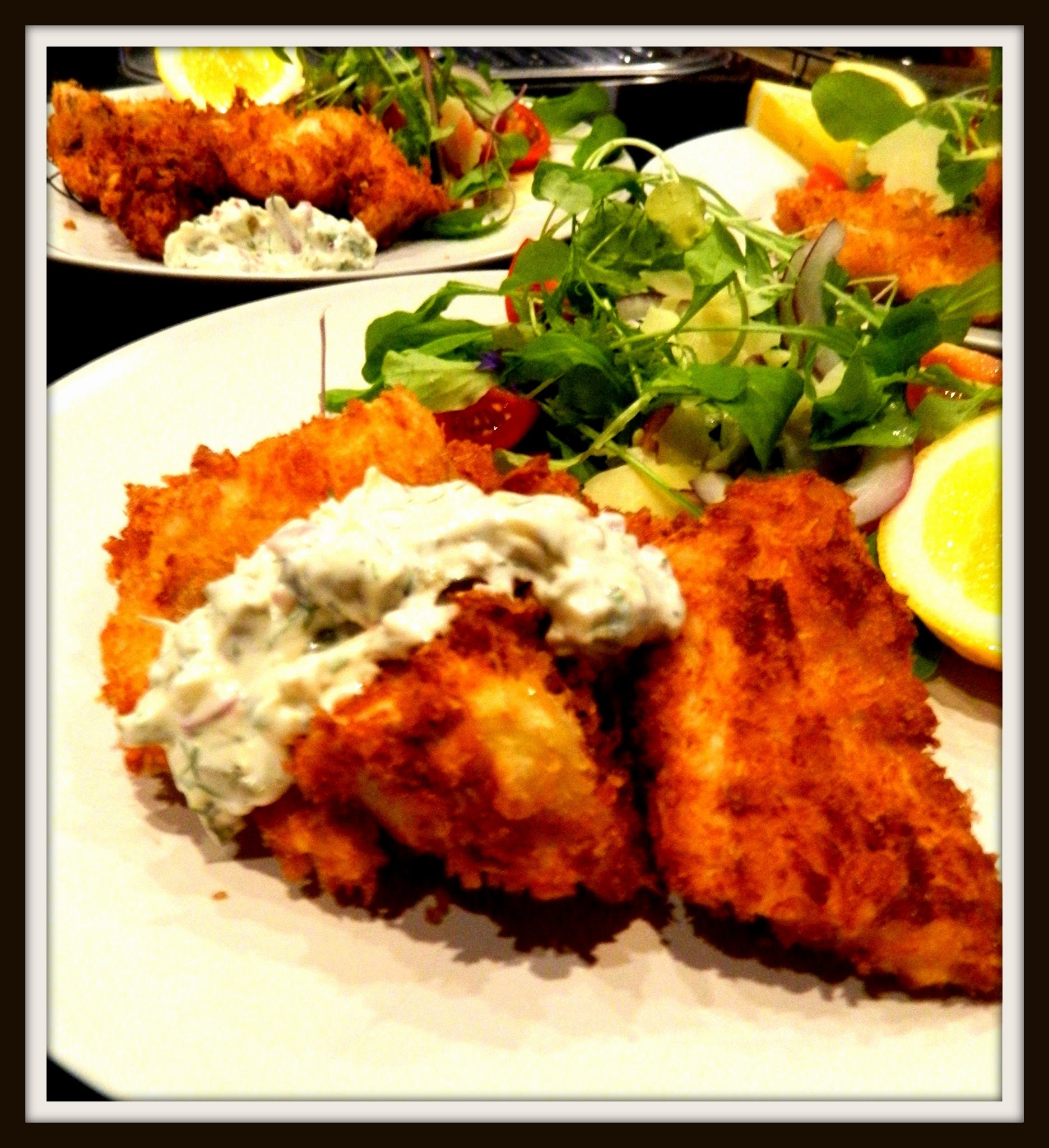 PANKO CRUMBED SNAPPER WITH HOMEMADE TARTARE SAUCE