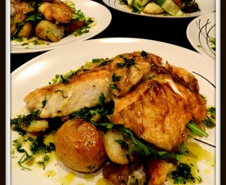 PANFRIED SNAPPER WITH POTAOES LEMON  HERBS AND CAPER DRESSING