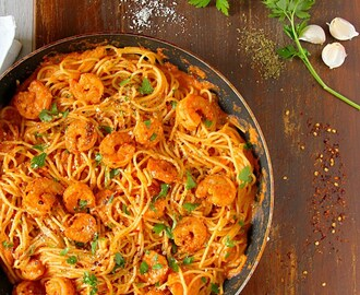 Spicy Shrimp Pasta In Creamy Tomato Sauce