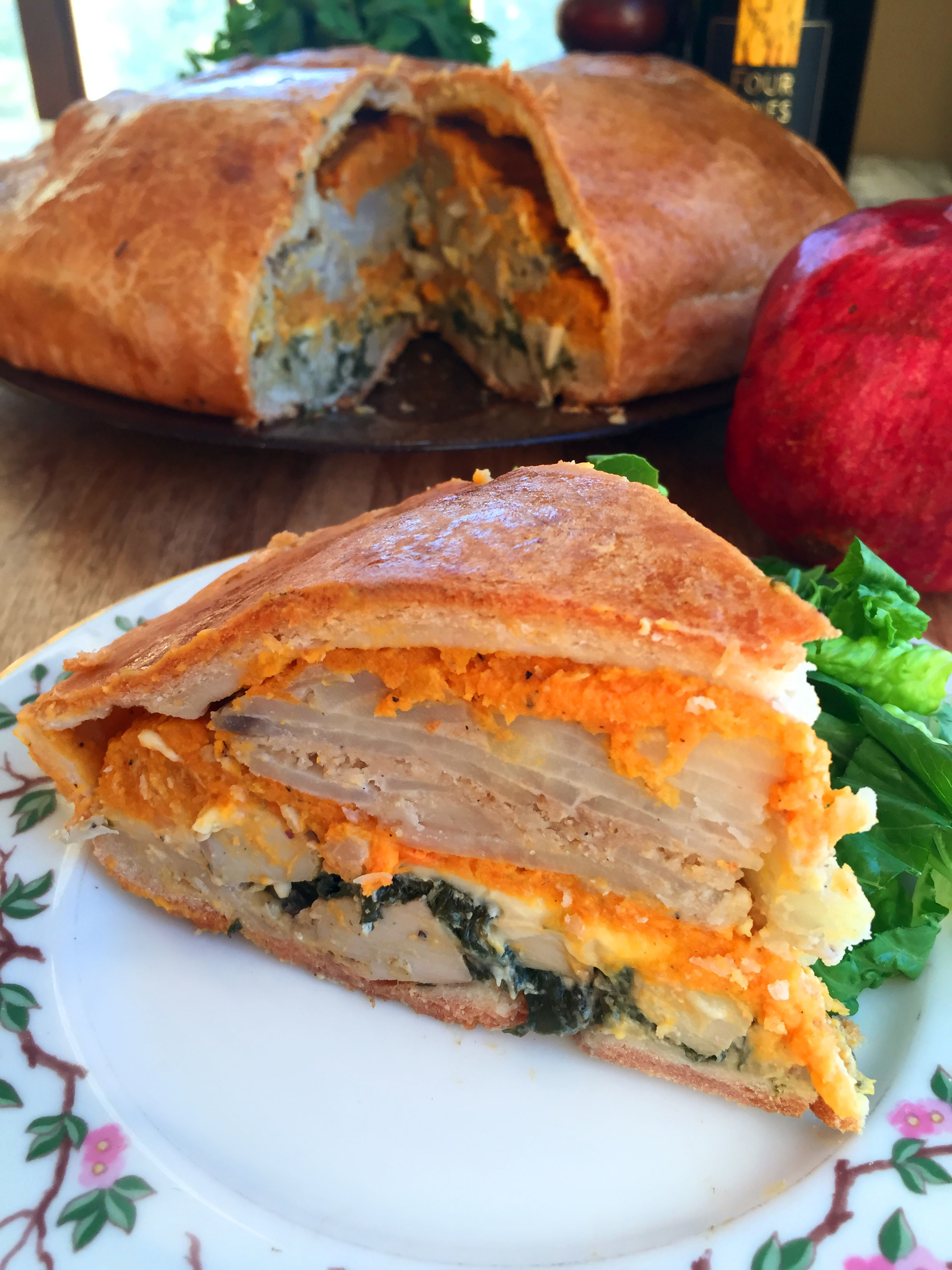 Thanksgiving Vegan Torta Rustica with Creamed Spinach and Chicken, Scalloped Potatoes & Sweet Potato-Butternut Squash Puree
