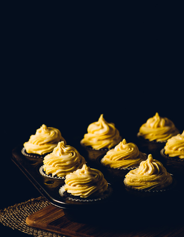 Chocolate Cupcakes with Pumpkin Frosting and Cream Cheese Glaze