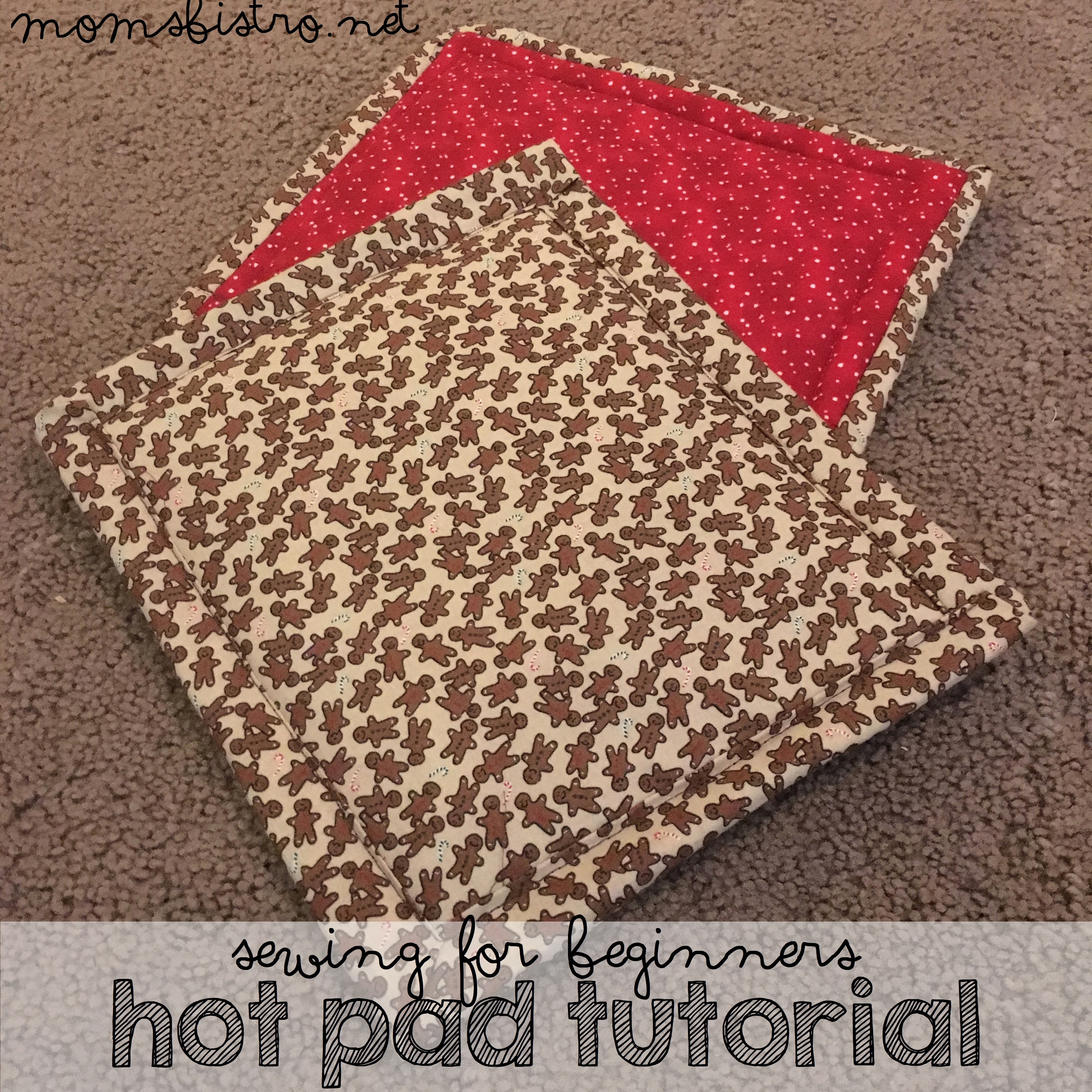 Looking For A Great DIY Gift For Grandparents?  Make These Easy To Sew Christmas Pot Holders with Hand or Footprints!  | Sewing For Beginners Hot Pad Tutorial