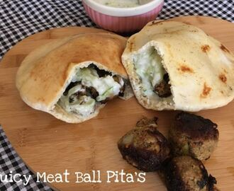 Juicy meatball pitas with tzatziki