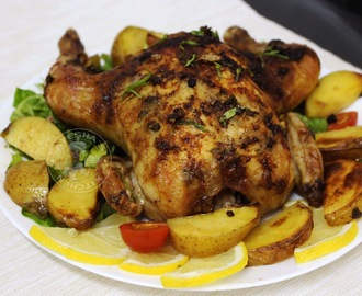 ROASTED CHICKEN WITH LEMON AND GARLIC BUTTER - BAKED LEMON GARLIC CHICKEN