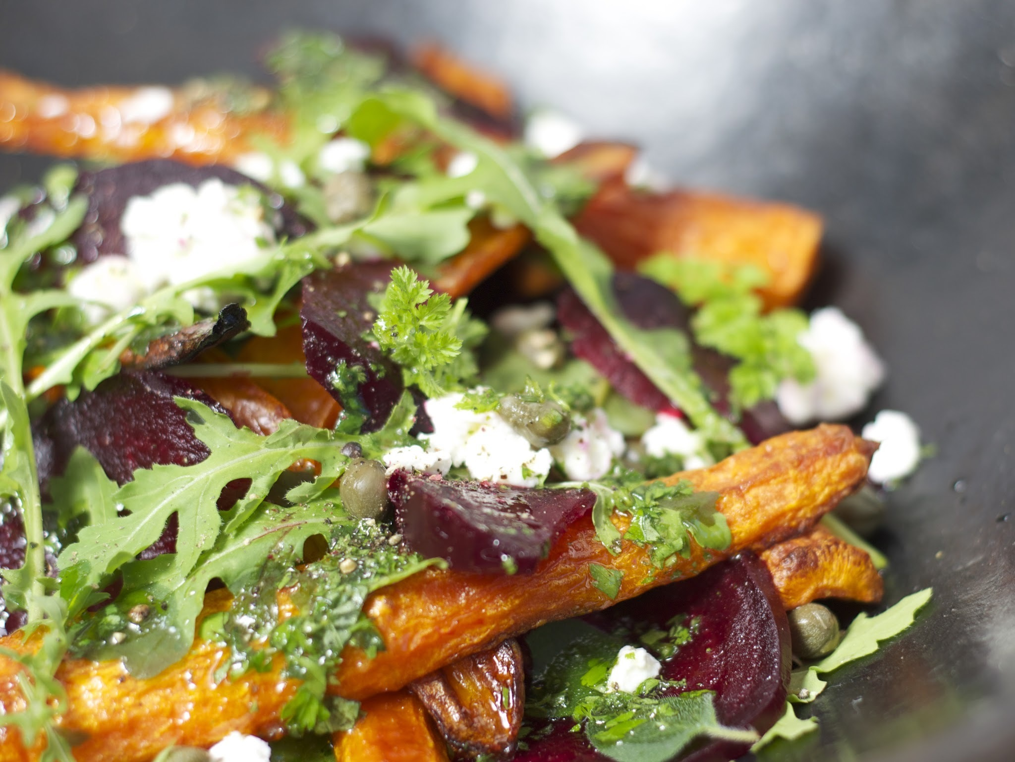 roasted carrot and beetroot salad with herb dressing
