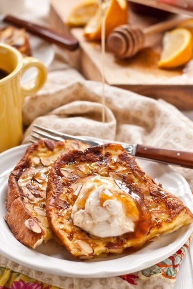 Almond Crusted French Toast with Whipped Ricotta and Honey