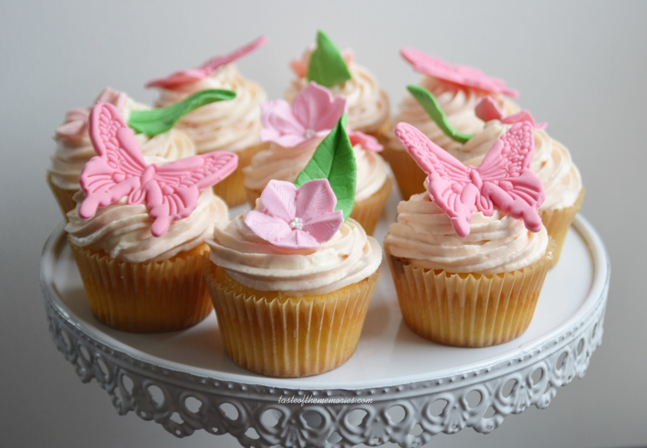 Vanilla cupcakes with raspberry buttercream.
