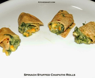 Spinach Stuffed Chapathi Rolls Recipe