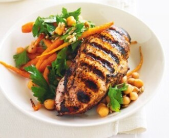 Apple Honey Mustard BBQ Chicken Breast with Glazed Carrot Salad