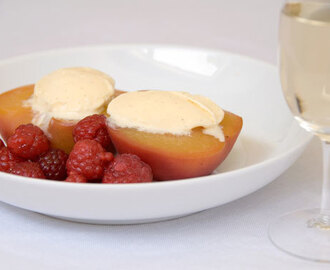 Poached Peaches with Raspberries and Vanilla ice cream