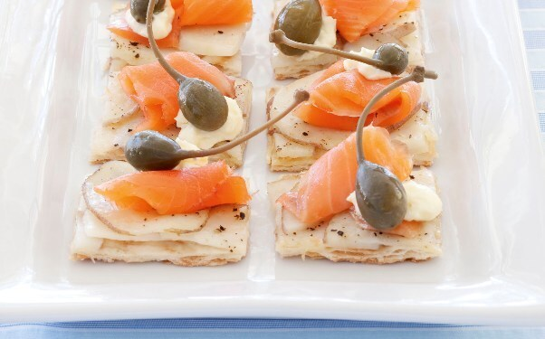 Smoked Salmon and Caperberry Pizza Pieces