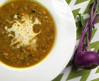 Vegan Ash Mash (Persian Mung Bean Soup) with Purple Kohlrabi & French Breakfast Radishes – for the Slow Cooker or Stove Top
