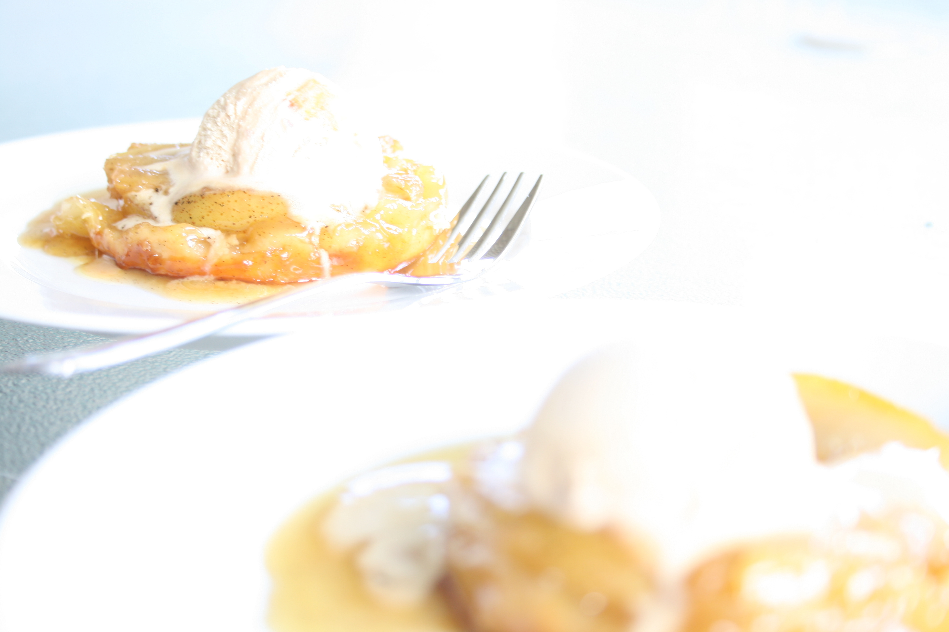dessert for two: pears and pastry