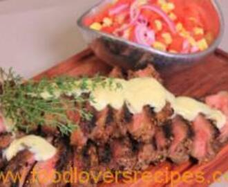 BILTONG STEAKS WITH SWEET MUSTARD AND CORN PICKLES