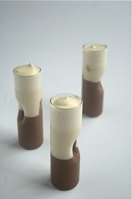 Chocolate, vanilla, cream... and grappa desserts in fancy grappa glasses