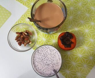 After a few days of eat-ice-cream-when-you-want kind of a diet, it's time to face reality and go back to regular programming. Today's deconstructed breakfas includes blueberry yogurt chia pudding, persimmon, nuts, milky coffee. #healthyph #BTMcooks #chiaph #phseller
