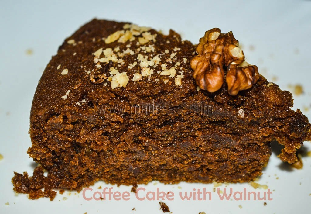 Wheat Coffee Cake with Walnuts (Eggless, Milkless, Butterless)