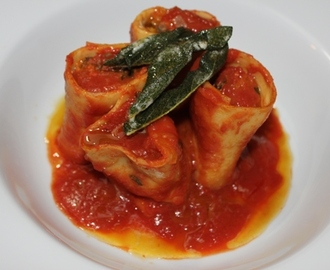 Spinach, Ricotta and Pumpkin Rotolo with Crispy Sage Browned Butter