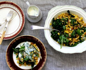 Julia and Libby Collaboration #2 - Sweetcorn salad with basil yoghurt dressing