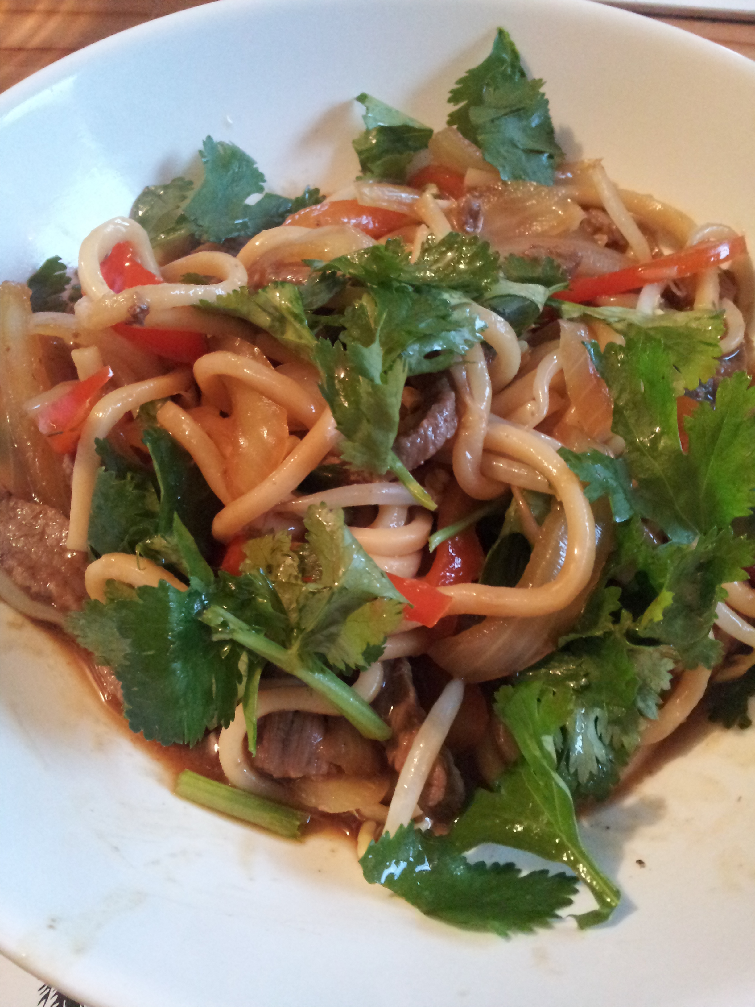 Monday- Noodles with slivered beef and red capsicum, Delicious by Sophie Grey